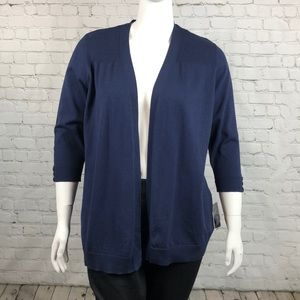 Karen Scott Navy Blue Open Front Cardigan Size 1X